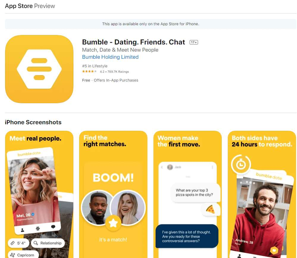 bumble app rating by app store