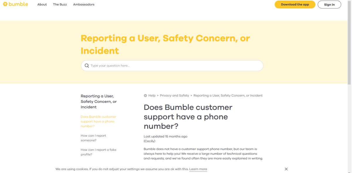 bumble support