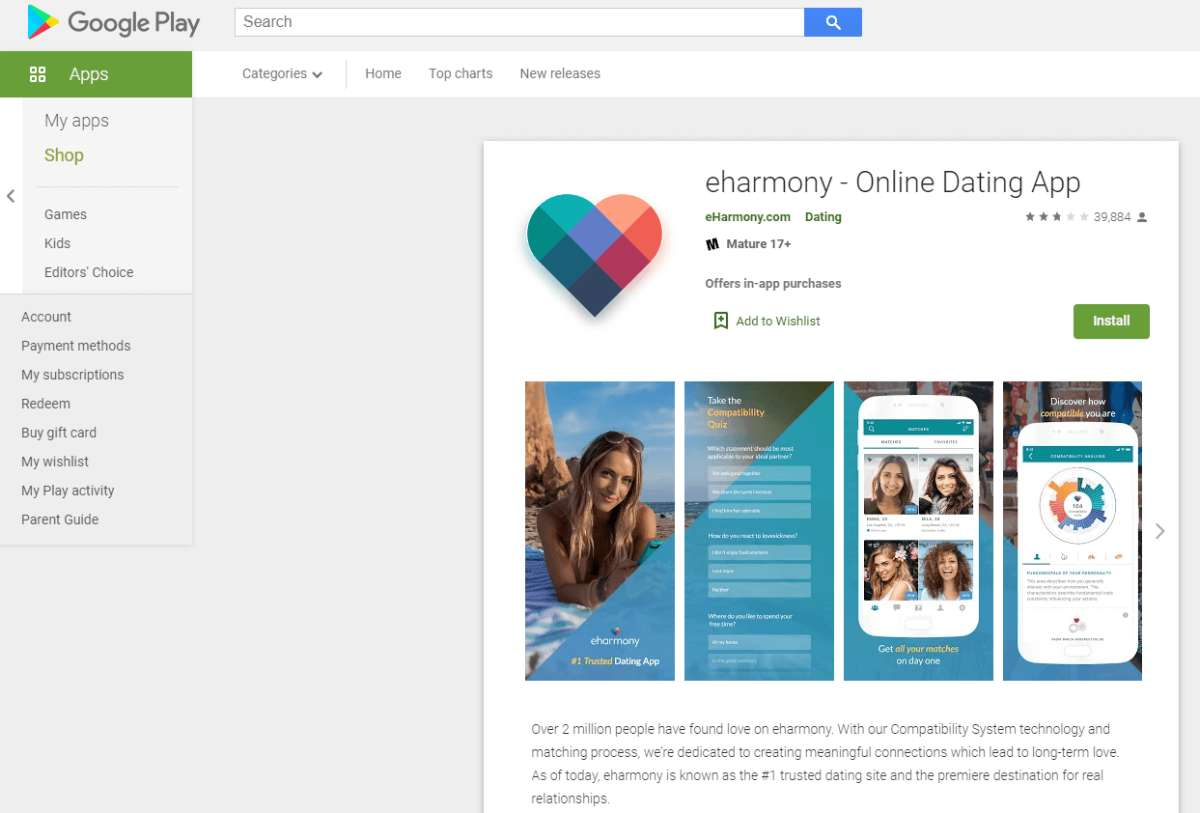 eharmony rating by google